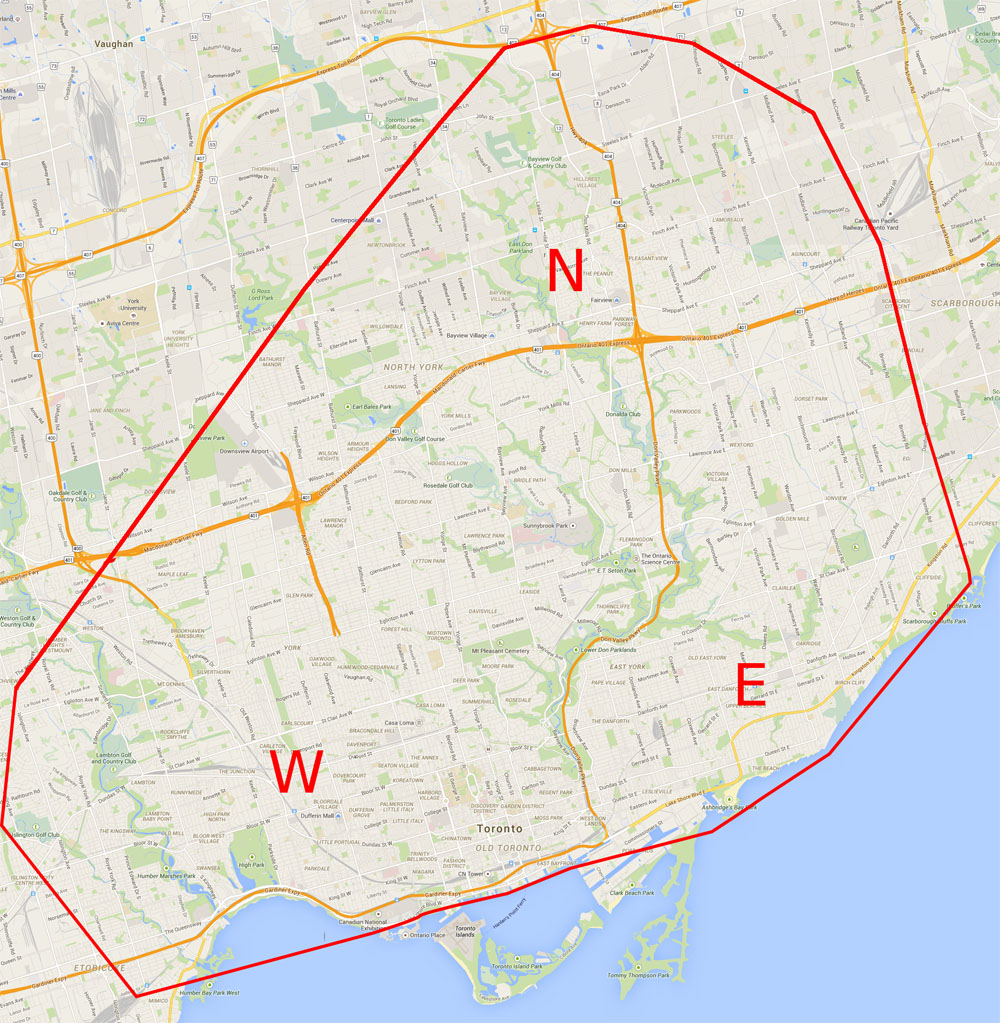 toronto delivery zone map